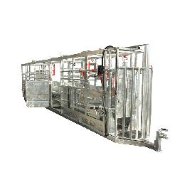 Couloir de contention galvanisé 10,50 m, hauteur 2,15 m avec système de pesée et porte de tri droite/gauche (toutes options)