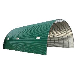 Tunnel de stockage couverture en tôle ondulée anti-condensation hauteur 3,90 m longueur 20 m