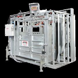Cage à bovin pneumatique avec réducteur de largeur et porte guillotine