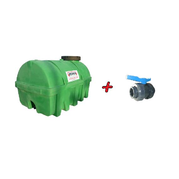 """Kit citerne en PEHD 5000L densité 1300 kg/m3 (EP) + Vanne PVC 2"""" + Raccord pompier mâle"""