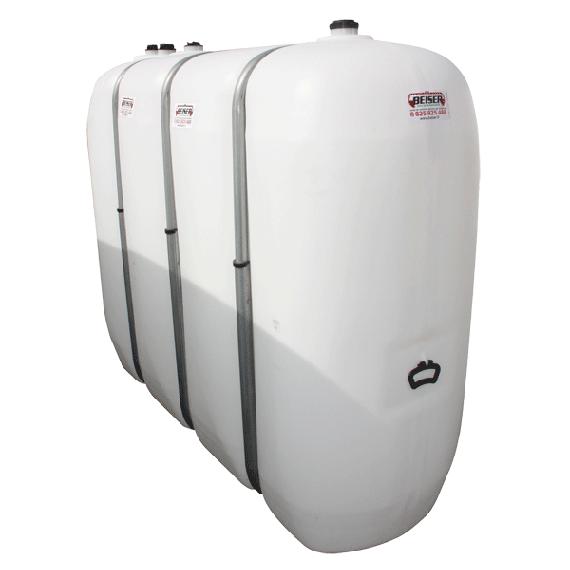 Citerne fuel blanche en plastique PEHD renforcé avec renforts métalliques 2000 litres