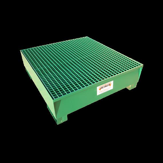 Bac de rétention métallique avec caillebottis pour 4 fûts, 450L