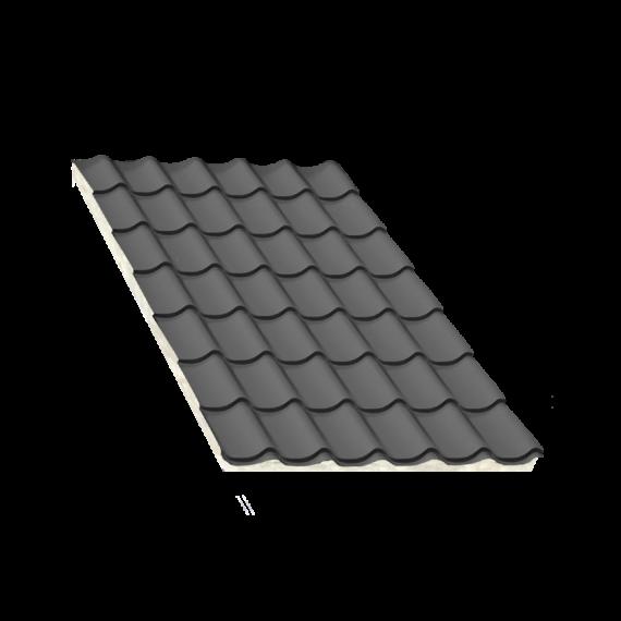 Tôle tuile isolée gris anthracite, épaisseur 80 mm - 5,5 m