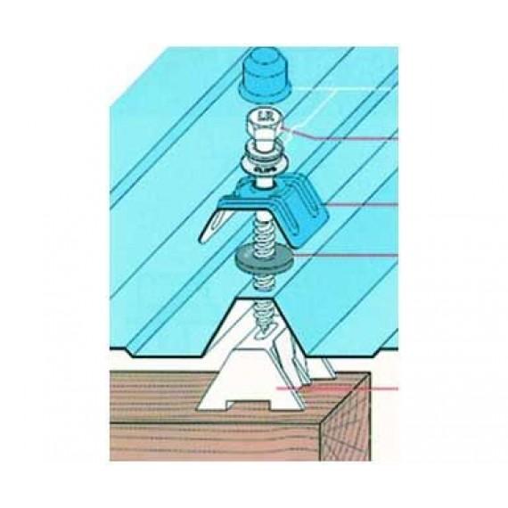 Kit fixation charpente bois, bleu ardoise RAL5008, par tirefond 65 mm, 100 pièces