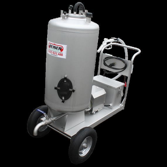Chariot à lait 130 L inox avec distributeur 12 V débit 40 litres / minute