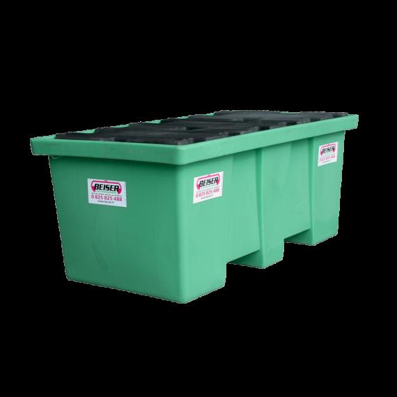 Bac de rétention en plastique PEHD longitudinal 2 fûts - 290 litres