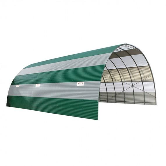 Tunnel de stockage en tôle ondulée anti-condensation combiné avec plaque translucide hauteur 5,85 m longueur 10 m
