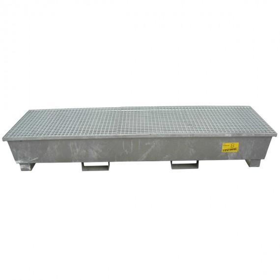 Bac de rétention longitudinal galvanisé 4 fûts - 588 litres