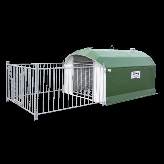 Niche à chiens isolée avec parc (+/- 10 chiens)