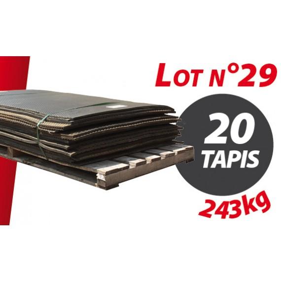 Palette N°29 (243kg) de 20 tapis caoutchouc d'occasion Qingdao 1.50m x 0.90m pour ensilage