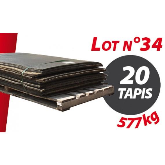 Palette N°34 (577kg) de 20 tapis caoutchouc d'occasion Qingdao 1.76m x 1.19m pour ensilage