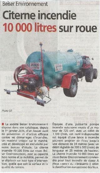 Citerne incendie 10000 litres sur roue